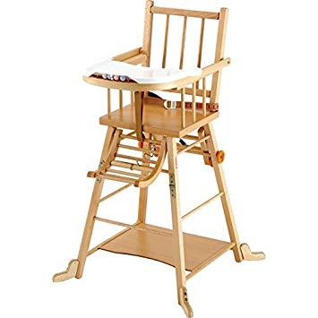 chaise haute en bois
