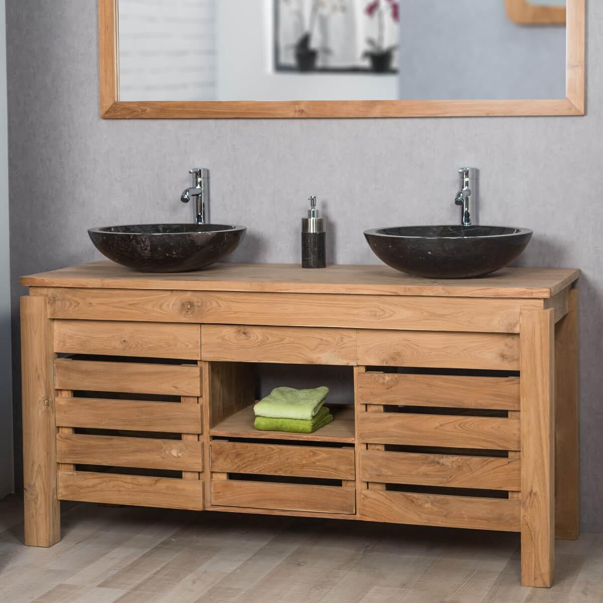 meuble double vasque bois